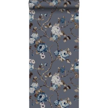 wallpaper flowers vintage blue and taupe