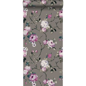 wallpaper flowers taupe and lilac purple