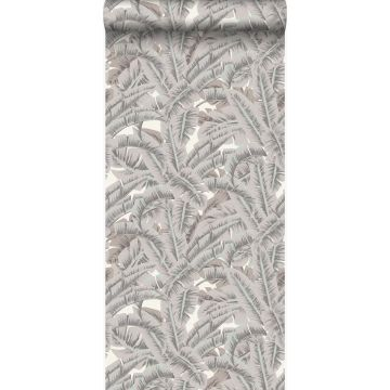 wallpaper palm leafs clay grey