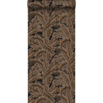 wallpaper palm leafs rust brown