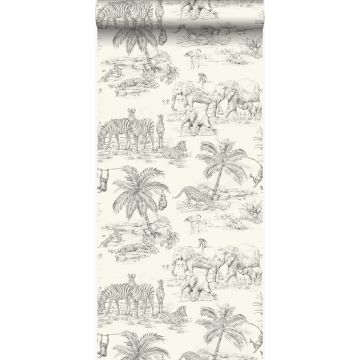 wallpaper jungle ivory white and gray