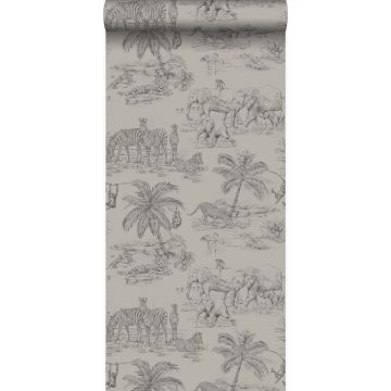 wallpaper jungle clay grey