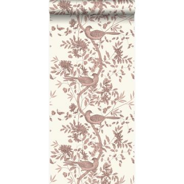 wallpaper bird engraving ivory white and shiny copper brown