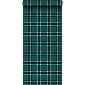 eco texture non-woven wallpaper rhombus motif emerald green