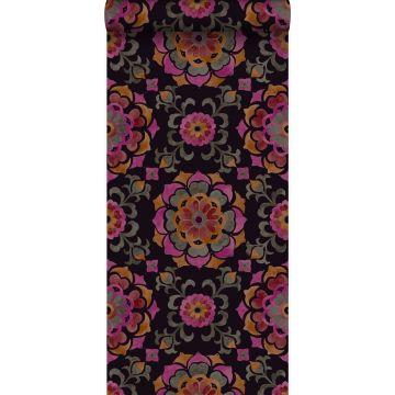 wallpaper suzani flowers black, orange and pink