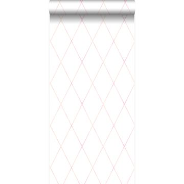 wallpaper rhombus motif pastel powder pink and matt white