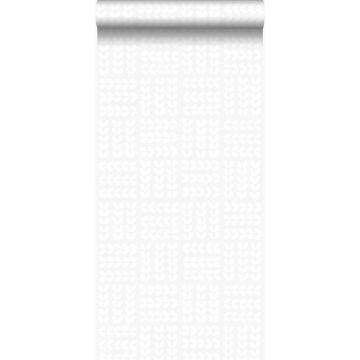 wallpaper leaves matt white and shiny silver grey