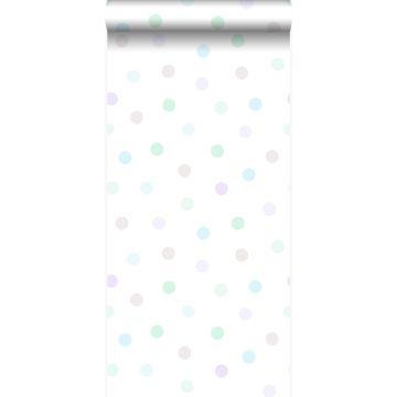 wallpaper polka dots pastel lila, mint green, shiny silver grey and pastel blue