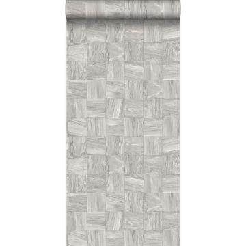 eco texture non-woven wallpaper square pieces of scrap wood light gray