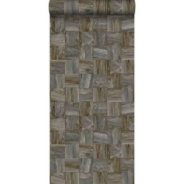 eco texture non-woven wallpaper square pieces of scrap wood dark brown