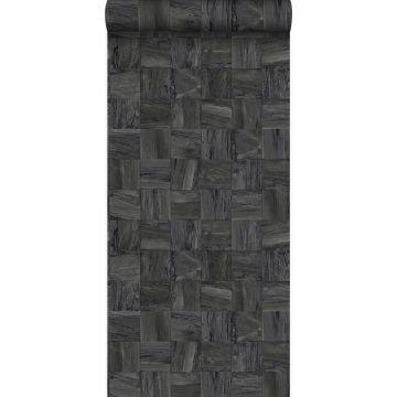 eco texture non-woven wallpaper square pieces of scrap wood black