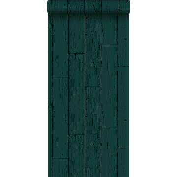 wallpaper weathered wooden planks emerald green