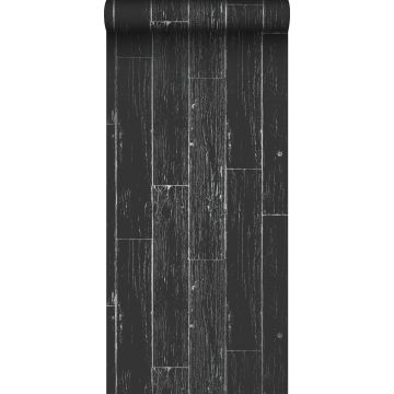 wallpaper weathered wooden planks matt black and silver