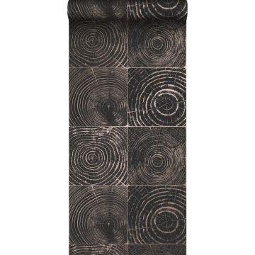 wallpaper cross-sections tree trunks matt black and shiny bronze