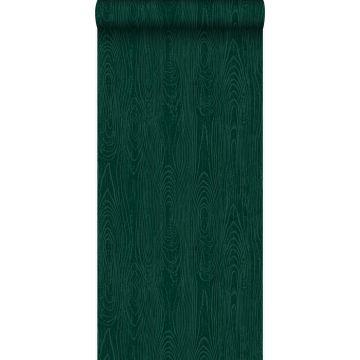 wallpaper wooden planks with wood grain emerald green