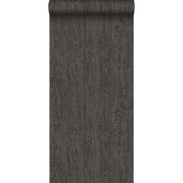 wallpaper wooden planks with wood grain dark gray