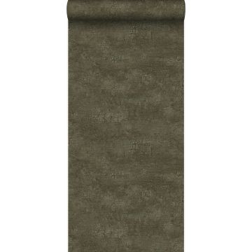 wallpaper natural stone with craquelé effect olive green