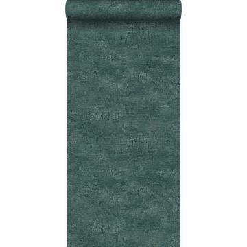 wallpaper natural stone with craquelé effect emerald green