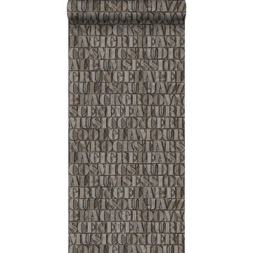 wallpaper old iron print letters rust brown