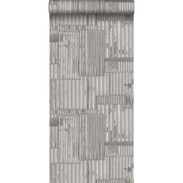 wallpaper industrial metal corrugated sheets 3D light gray