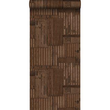 wallpaper industrial metal corrugated sheets 3D rust brown