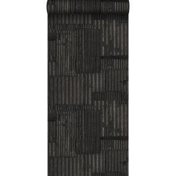 wallpaper industrial metal corrugated sheets 3D black