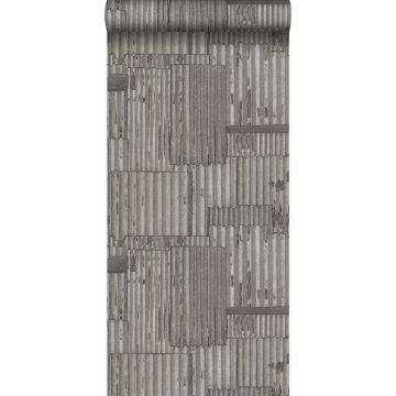 wallpaper industrial metal corrugated sheets 3D dark gray