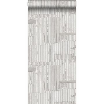 wallpaper industrial metal corrugated sheets 3D off-white