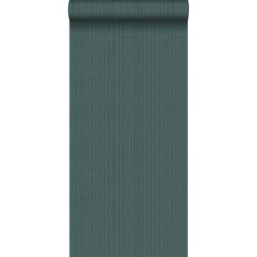 wallpaper woven fabric effect sea green