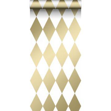 wallpaper rhombus motif white and gold