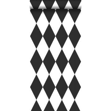wallpaper rhombus motif black and white