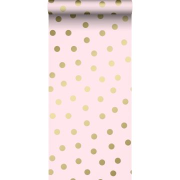 wallpaper dots pink and gold