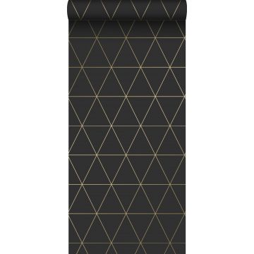 wallpaper graphical triangles black and gold