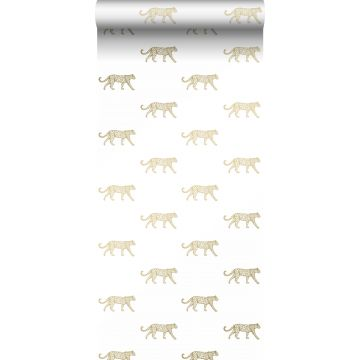 wallpaper panters white and gold