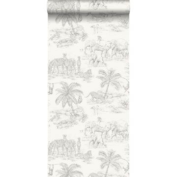 wallpaper pen drawn safari shiny white and silver grey