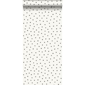 wallpaper polka dots shiny white and black
