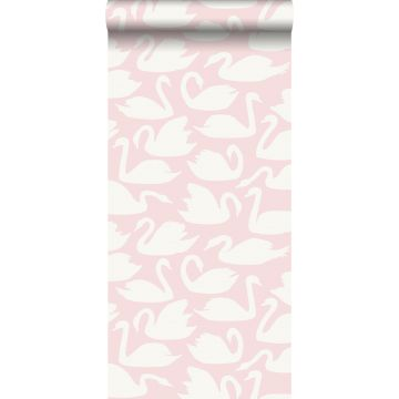 wallpaper swans pink and white