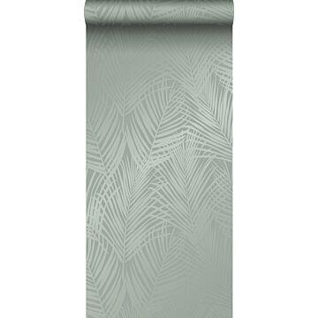 wallpaper palm leaves grayish green