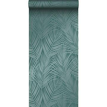 wallpaper palm leaves emerald green