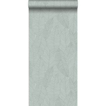 wallpaper leaves grayish green