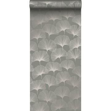 wallpaper ginkgo leaves warm gray