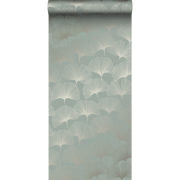 wallpaper ginkgo leaves sage green