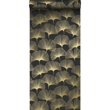 wallpaper ginkgo leaves black and gold