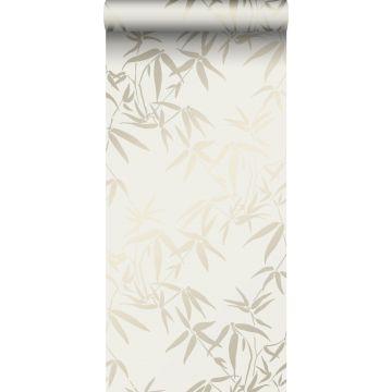 wallpaper bamboo leaves beige