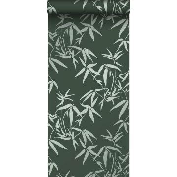 wallpaper bamboo leaves dark green