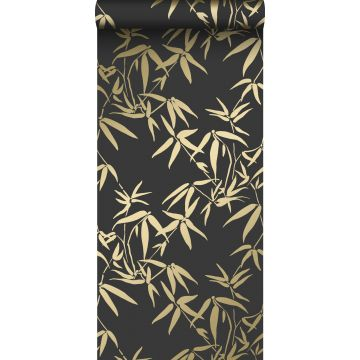 wallpaper bamboo leaves black and gold