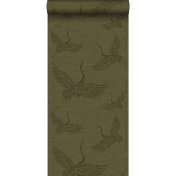 wallpaper crane birds mustard green