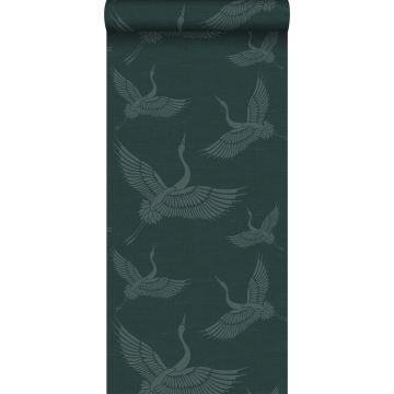wallpaper crane birds teal