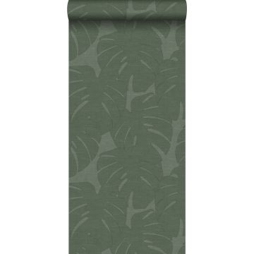 wallpaper leaves with woven structure green