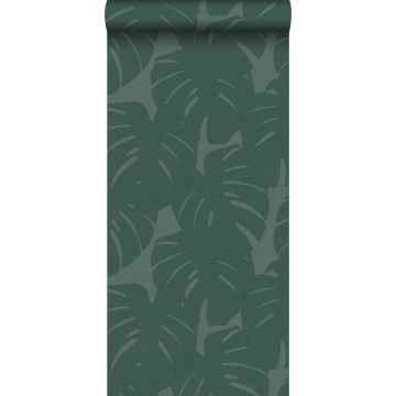 wallpaper leaves with woven structure sea green